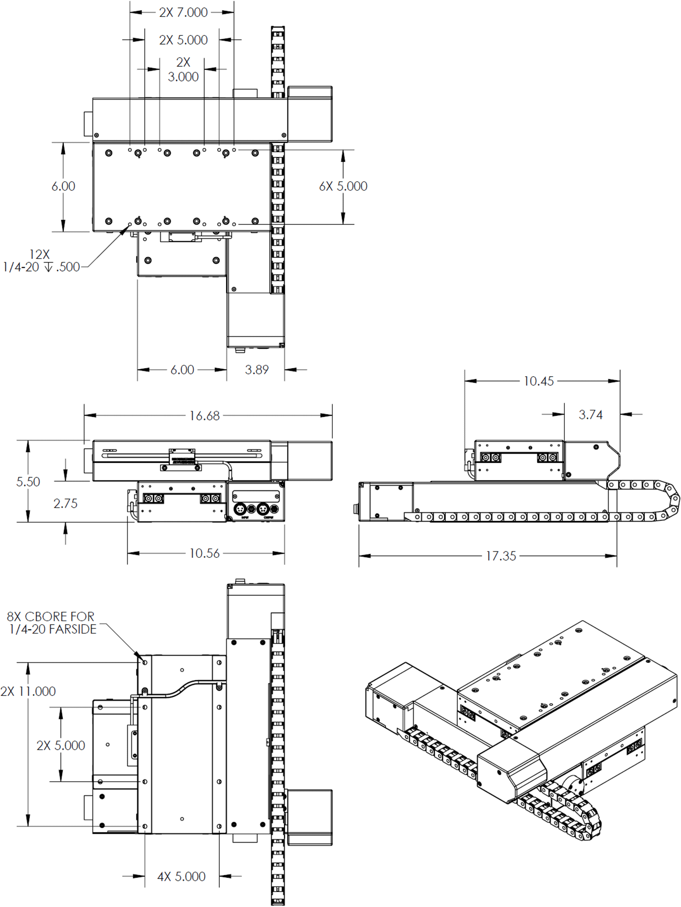 200mm x 200mm X-Y OEM Stage Dimension Drawings