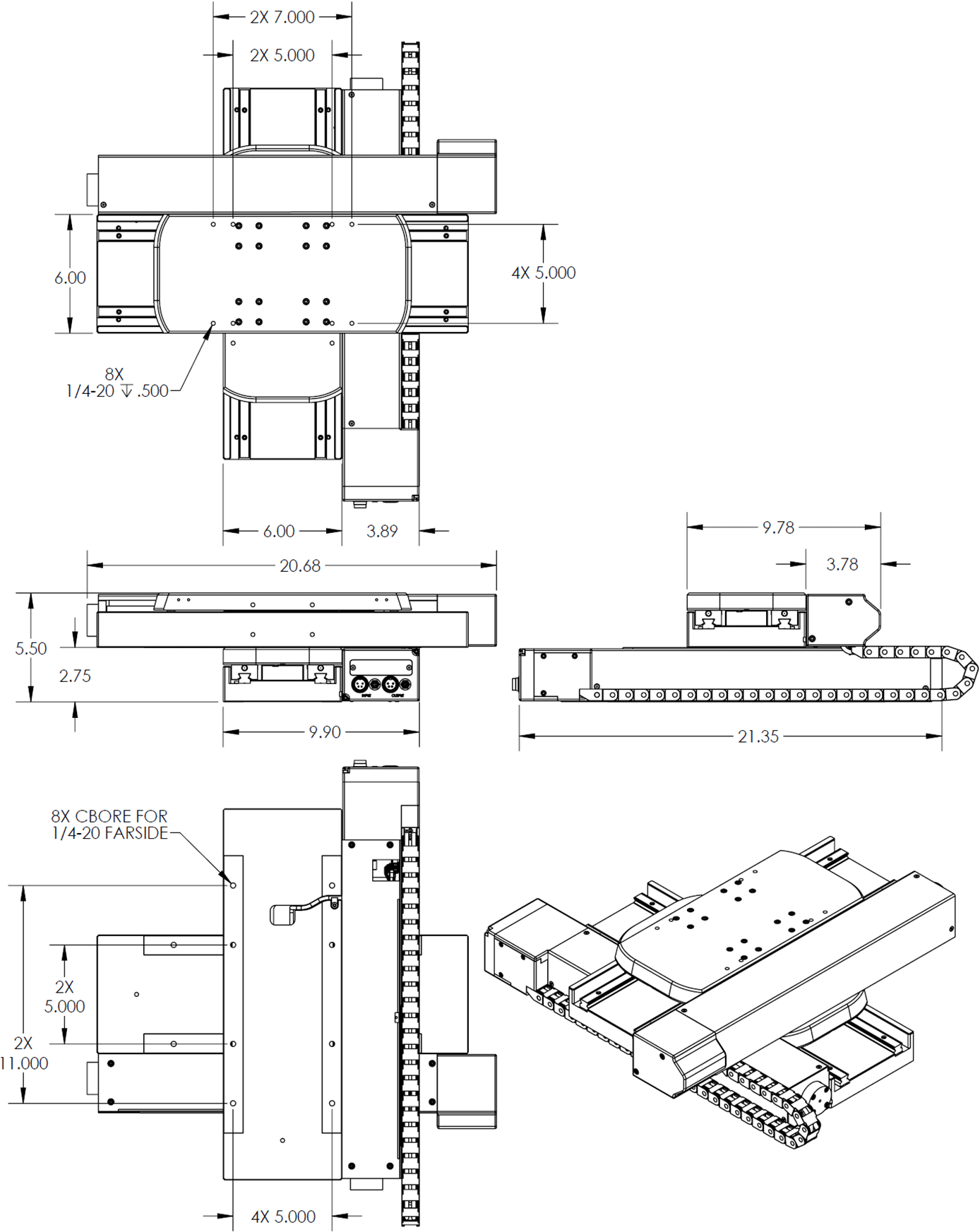 300mm x 300mm X-Y OEM Stage Dimension Drawings