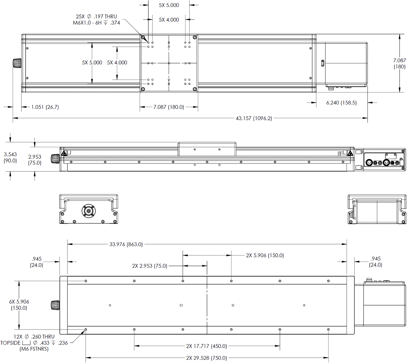 650mm Long Travel Stage Dimension Drawings