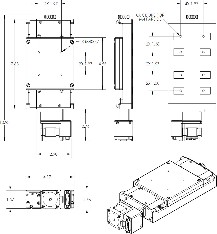 API50 Crossed Roller Bearing Stage Dimension Drawings