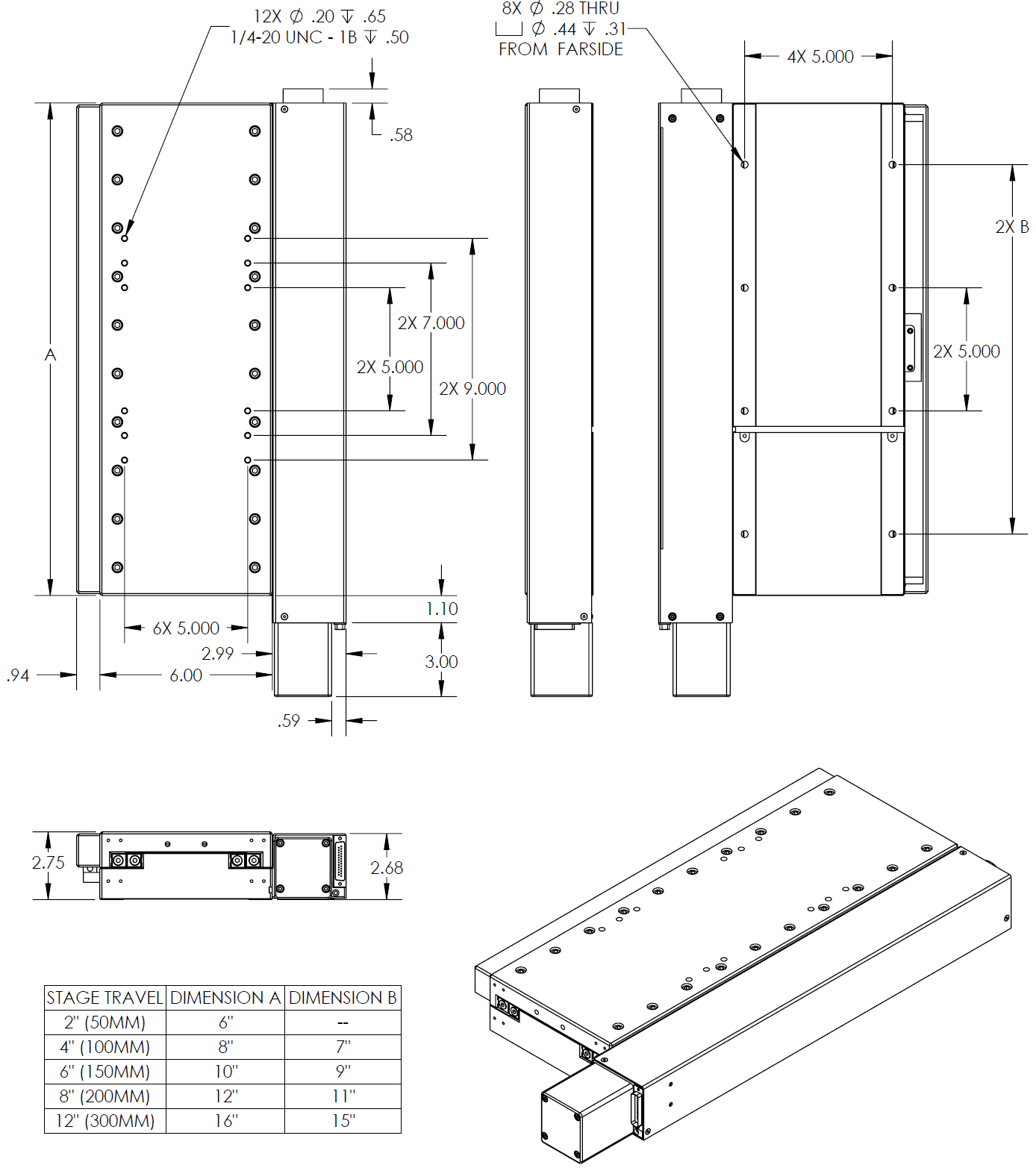 CS Series Linear Stage Drawings