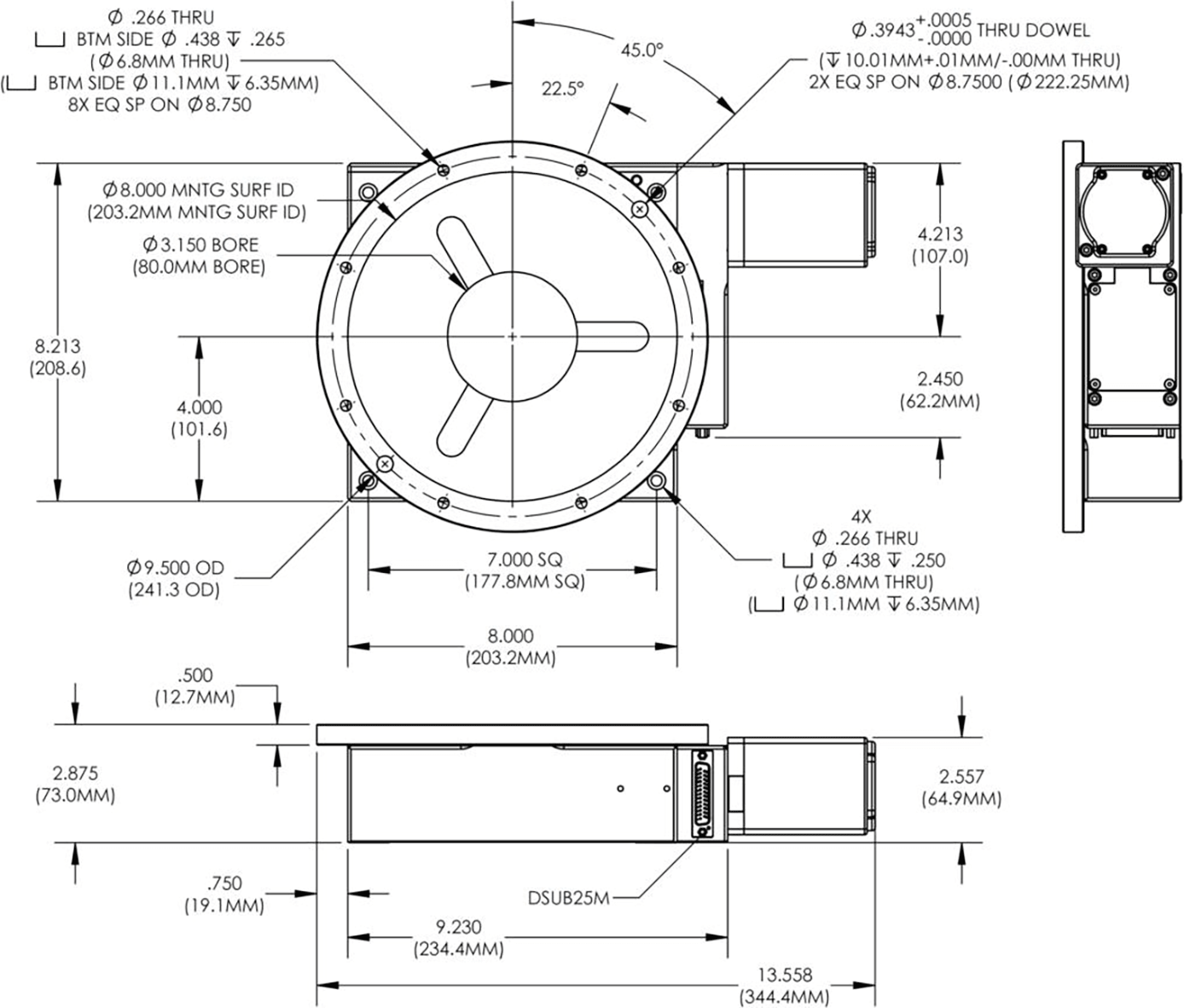 HSR08 Direct Encoded Rotary Stage Dimension Drawings
