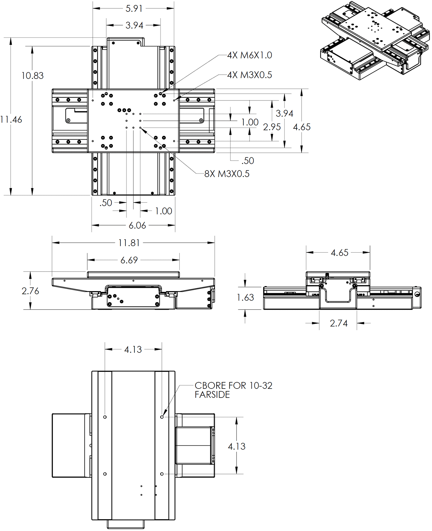 LP150 Low Profile X-Y Stage Dimension Drawings