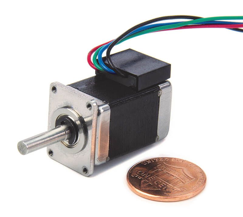 Miniature stepper motor compared to a penny